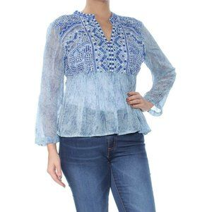 Lucky Brand Split Neck Blue Embroidered Top NWT
